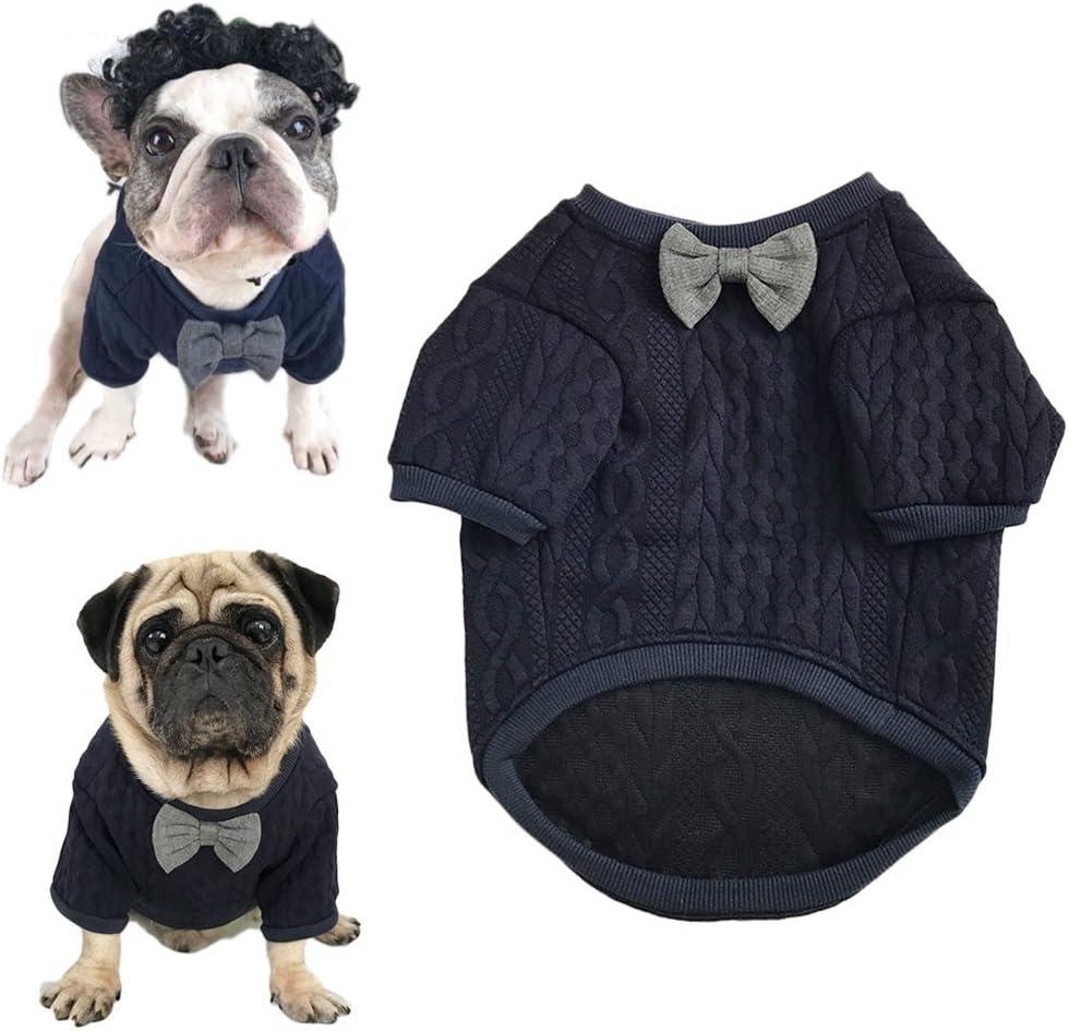Meioro Suéter de Pajarita de Perro Ropa de Mascotas Chaqueta Perros Ropa Ropa de Mascota Linda Chupetes de Perros abrigados Ropa de Gato Cachorros Ropa de Bulldog francés Ropa de Pug(L)