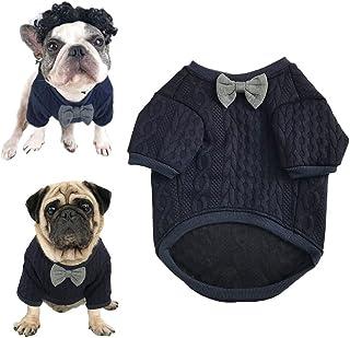Meioro Suéter de Pajarita de Perro Ropa de Mascotas Chaqueta Perros Ropa Ropa de Mascota Linda Chupetes de Perros abrigados Ropa de Gato Cachorros Ropa de Bulldog francés Ropa de Pug(M)