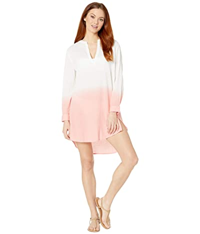 Echo Design V-Neck Long Sleeve Ombre Tunic (Sunset Coral) Women