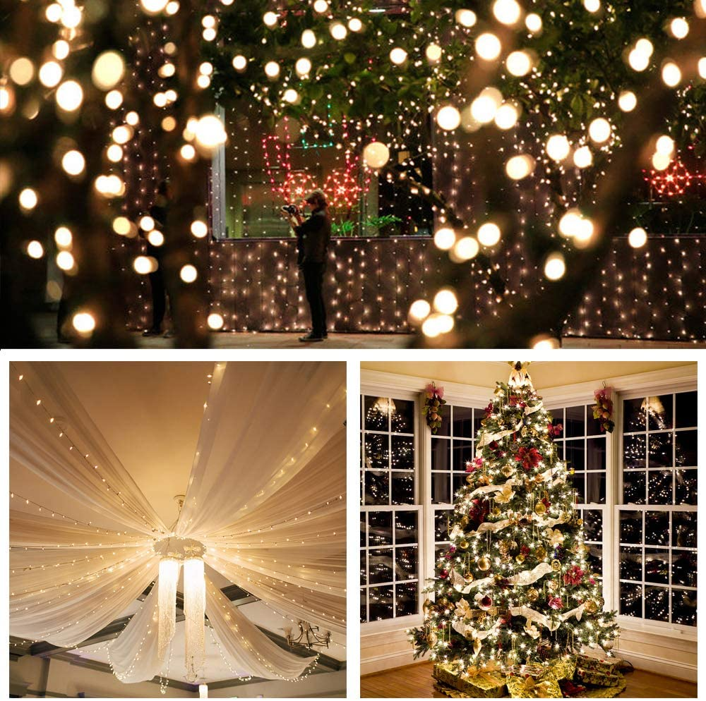 Indoor Outdoor Decorative Fairy Light for Bedroom Timer//Remote//Dimmable//9 Modes Party and More Patio 2 in 1 Cool and Warm White 66ft 200 LED Plug in Christmas Dual Color LED String Light