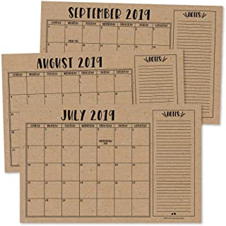 Rustic 2019-2020 Large Monthly Desk or Wall Calendar Planner, Big Giant Planning Blotter Pad, 18 Month Academic Desktop, Hanging 2-Year Date Notepad Teacher, Mom Family Home Business Office 11x17