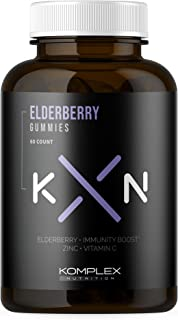KompleX Nutrition Organic Elderberry Gummies, 150mg Elderberry Extract, Zinc, Vitamin C for Overall Health, Powerful Antio...