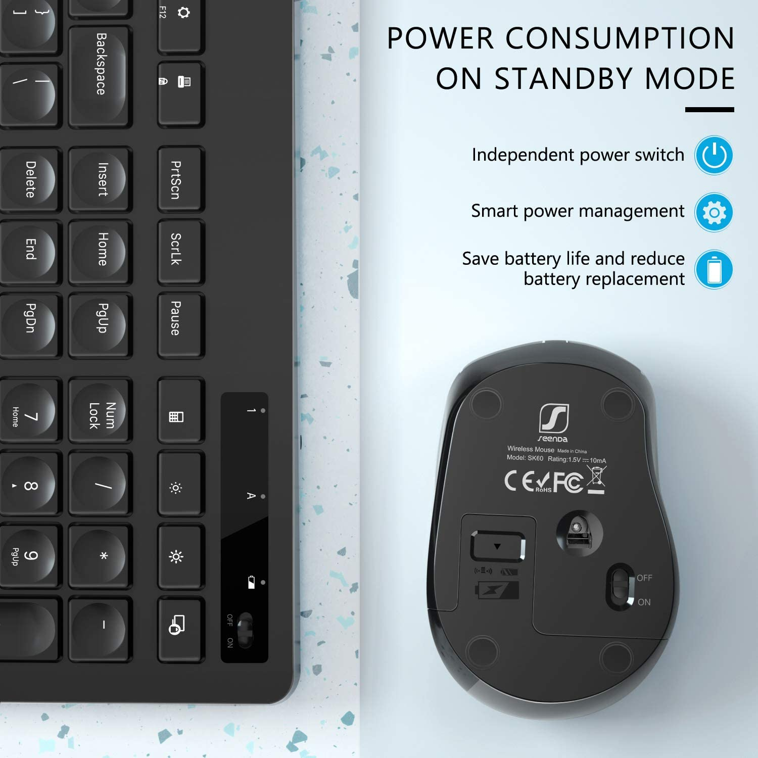 Full-Size Keyboard and Mouse for Computer Keyboard with Phone Holder seenda 2.4GHz Silent USB Wireless Keyboard Mouse Combo Wireless Keyboard and Mouse Desktop and Laptop Black