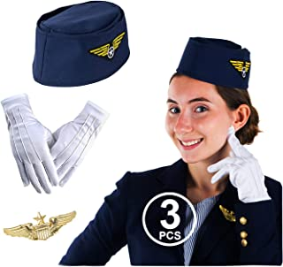 Tigerdoe Stewardess Hat – Flight Attendant Costume – Air Hostess – Cabin Crew – 3 Pc – Women's Costumes