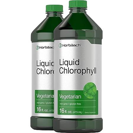 Liquid Chlorophyll 100mg | 32 oz (2 x 16 oz Bottles) | Vegetarian, Non-GMO, and Gluten Free Unflavored Formula | by Horbaach
