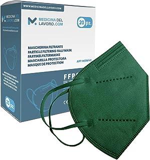 20 Mascarillas FFP2/KN95 Verde Homologadas de Certificación CE sin Válvula de 4 Capas, Máscara Protectora de Polvo y Partí...