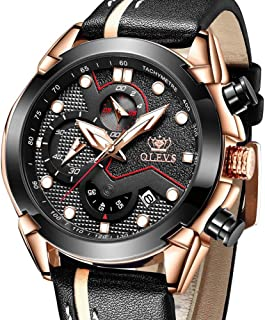 Men's Watches Chronograph Luminous Leather-OLEVS Sports...