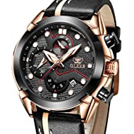Men's Watches Chronograph Luminous Leather-OLEVS Sports Waterproof Date Analog Quartz...