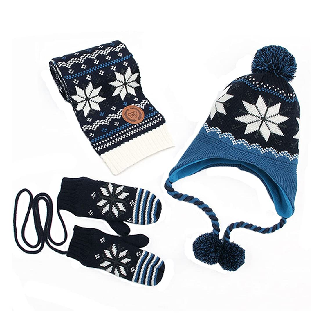 Kisbaby Kid's Fleece-lined Christmas Winter Hat Scarf and Gloves Set with Snowflake Pattern