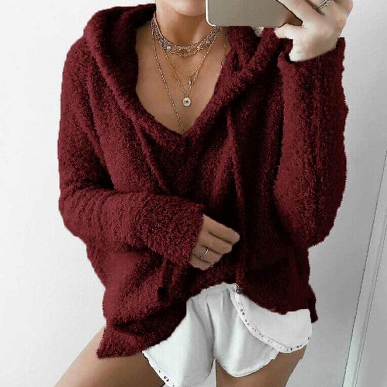 LXUA Tricots pour DamesFemmes Hiver Chaud Cordon De Serrage Sweat à Capuche Chandails Faux Outwear à Capuche Pardessus DécontractéDécontracté Et Polyvalent Burgundy