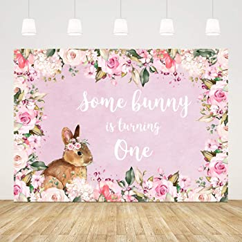 YEELE Floral 1st Birthday Backdrop 10x7ft Little Bunny is Turning One Photography Background Spring Easter Boys Girls Room Decoration Cake Smash Party Table Photobooth Props Digital Wallpaper
