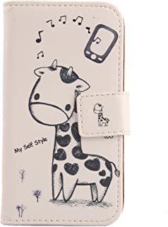 "Lankashi Pattern PU Leather Wallet Flip Cover Skin Protection Case for Easyfone Prime A5 1.8"" (Giraffe Design)"