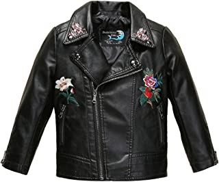 Girls Embroidered floral Faux Leather Motorcycle Moto Biker Jackets