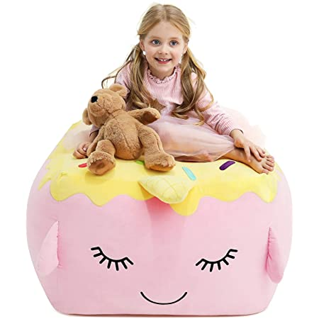 Covers Only 22x24Extra Sika Deer Anzitinlan Pink Beanbag Chairs for Girls Stuffed Animal Storage Bean Bag Chair Plush Organization for Kids