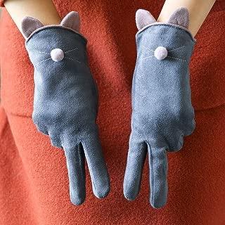 Warm Gloves Plus Velvet Thickened Student Touch Screen Finger Gloves (Color : Gray)