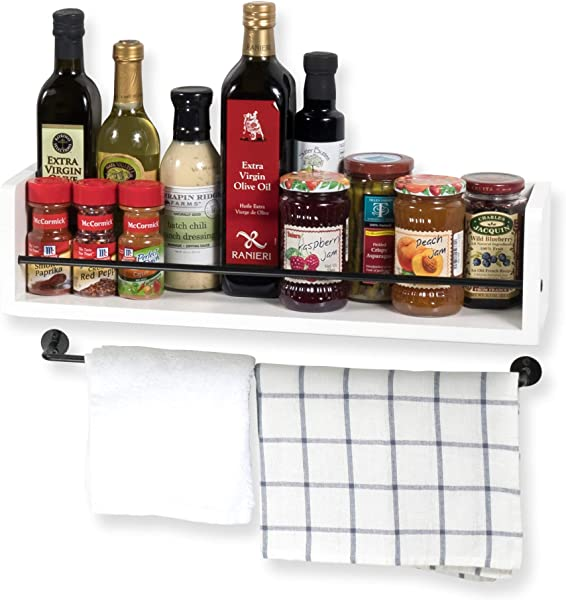 Rustic State Kitchen Wood Wall Shelf With Metal Rail Spice Rack White 20 Inch