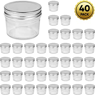 Accguan 4oz Glass Jars With Lids(Silver),Mason Jars,glass jars with lids,Ideal For Honey,Jam,Baby Foods,Wedding Favor,DIY Magnetic Spice Jars,Mini Spice Jars For Kitchen,Set of 40