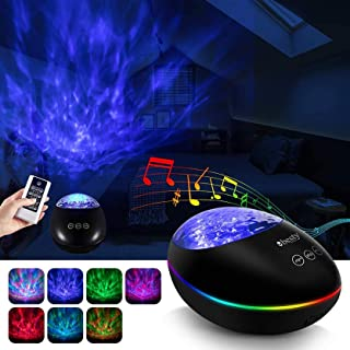 BESTY HOME Ocean Wave Galaxy Projector with Music Player Timer Bluetooth, Kids Night Light Projector with Color Changing L...