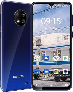 OUKITEL C19 SIMフリー スマホ 本体 4Gスマートフォン Android 10.0 4000mAhバッテリー 6.49 インチ大画面 デュアルSIM 指紋ロック解除、フェイスアンロック 格安スマホ1年間の保証(青い)