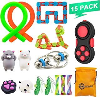 NANAHouse 15 Pack Fidget Toys Set Increase Focus Relieves Stress Sensory Toy Bundle-Fidget Chain/Wacky Tracks Snap/Stress Ball/Mesh and Marble Sensory Toys for ADD ADHD,Birthday Party Favors
