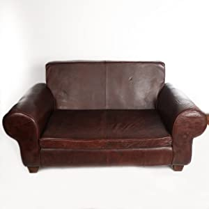 Antyki24 Piel Sofá marrón Piel auténtica sofá sofá Big marrón Vintage XXL