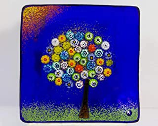 Via Graceffo Murano Glass Tree of Life Plate, Large, Cobalt