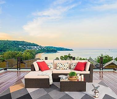Devoko 5 Pieces Patio Furniture Sets All Weather Outdoor Sectional Sofa Manual Weaving Wicker Rattan Patio Conversation Set w