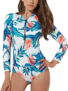 3ccaf485d86e1 LAPAYA Women s One Piece Swimsuits Zip Up Floral Long Sleeve Rash Guard  Swimwear
