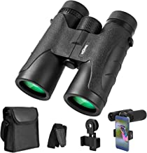 Binoculars for Adults 10x42, Waterproof Compact Binoculars with BAK4 Prism FMC Lens, Portable Binoculars for Bird Watching, Traveling, Stargazing, Hunting, Concerts, Sports