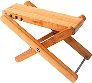 """Miwayer Bamboo 4 Gears Adjustable Upscale Guitar Foot Rest Non-slip Foot Stool Foldable Footrest from 4.5"""" up to 8"""",Access..."""