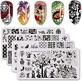 BEAUTYBIGBANG 4Pcs Nail Stamping Plate Halloween Theme - Pumpkin Skull Ghost Witch Image Plate Nail Art Design Stamp Kit Manicure Template Set