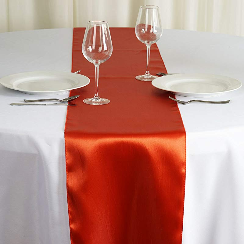 BalsaCircle 12 Pcs 12 X 108 Inch Burnt Orange Satin Table Runners Wedding Table Top Party Supplies Reception Linens Decorations