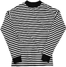 [ロングスリーブ]ボーダー シルエット 流行 ハイストリート 流行 デザイン おしゃれ キャップ 帽子 PU レザー 高級感 ヒップホップ T-Pablow ファッション メンズ レディース 男女兼用 ユニセックス 通販[ブラック(黒)]