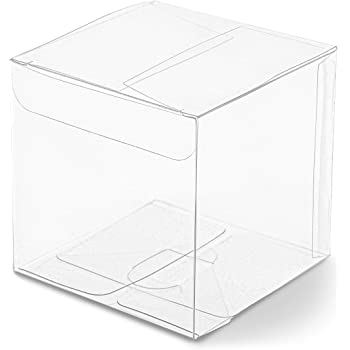 Clear Candy Gift Box, Transparent Boxes for Candy Party Favors (3 In, 50 Pack)