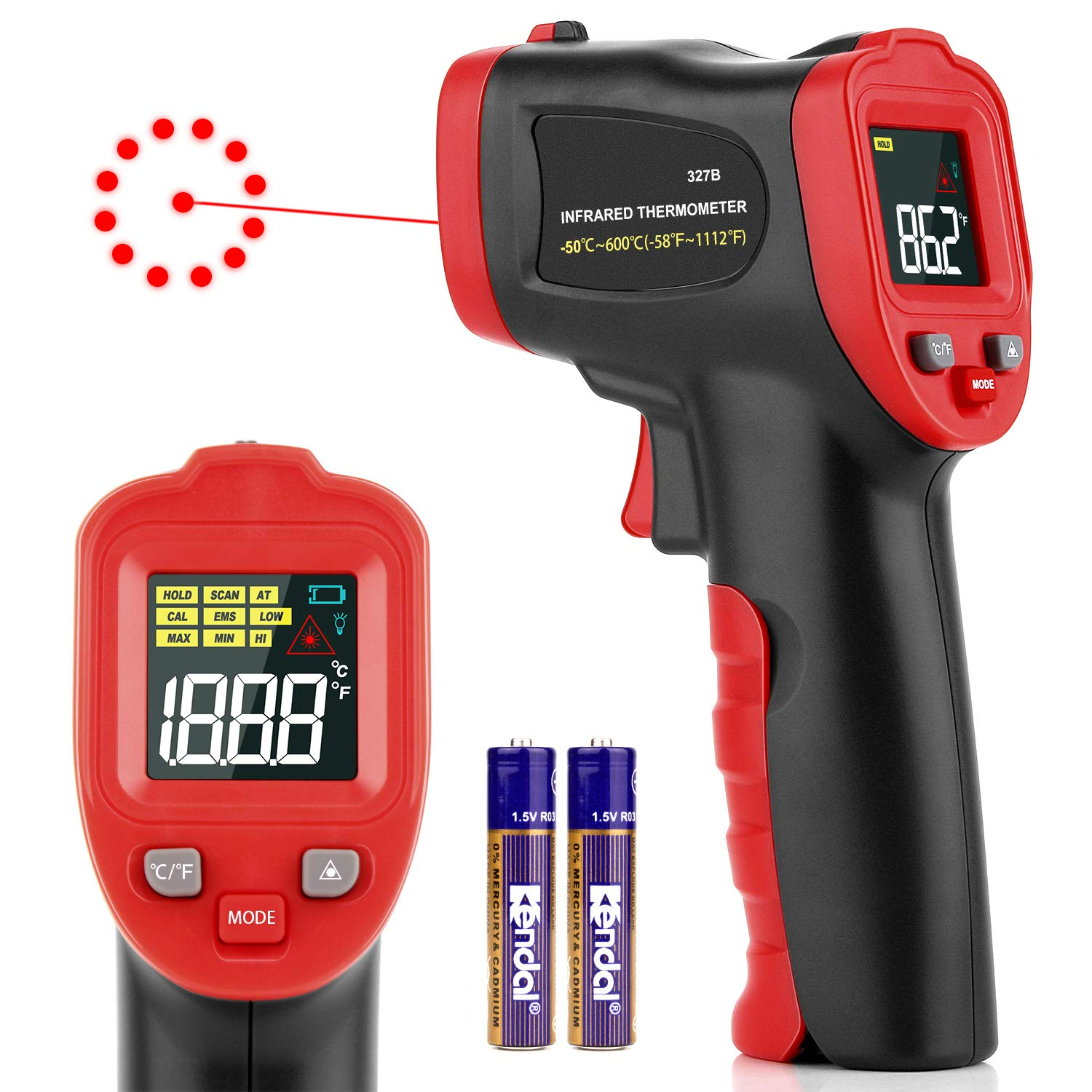 Digital Laser Temperature Gun Infrared Thermometer Gun with Color LED Display, Non-Contact IR Thermometer with Alarm for Kitchen Cooking BBQ Automotive Industrial -58℉~752℉