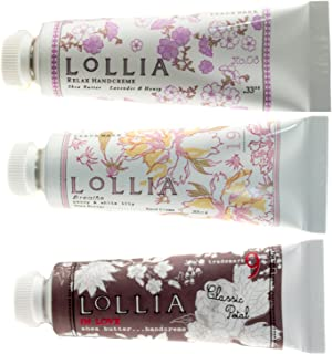 Lollia Petite Size Shea Butter Handcreme 3 Piece Gift Set - Relax, Breathe and In Love