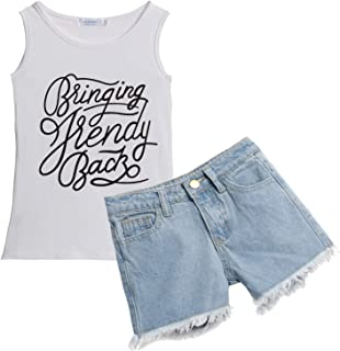 Balasha Toddler Girl Boy Clothing Sets Sleeveless T-Shirt 2PCS Tops Denim Shorts Outfits