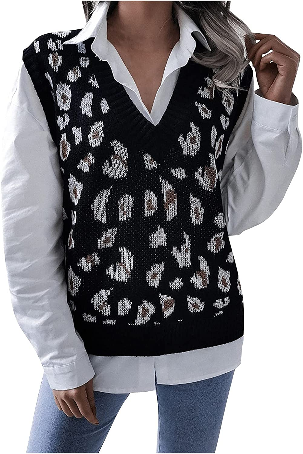 Sweater Vest For Women's Casual College Style V-neck Knit Loose Fashion Plaid Sweater