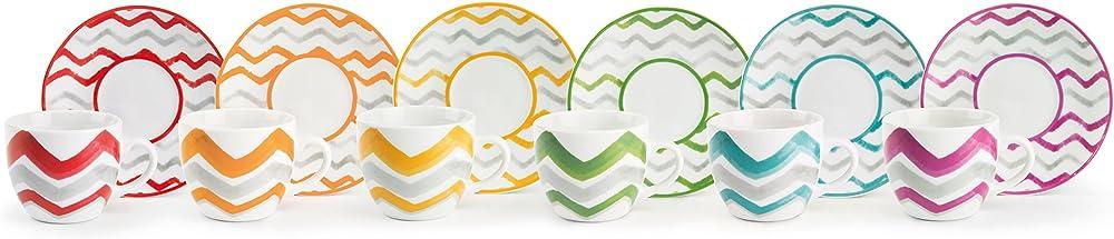 Excelsa zag, set da 6 tazzine da caffè con piattino, in porcellana multicolore 62712