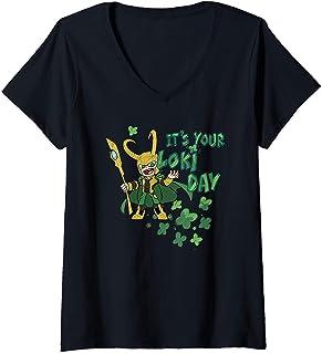 Femme Marvel Kawaii It's Your Loki Day Shamrocks St. Patrick's Day T-Shirt avec Col en V