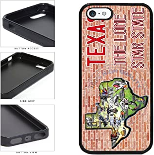 BleuReign(TM) Detailed Texas Map on Brick Background TPU RUBBER SILICONE Phone Case Back Cover For Apple iPhone 5 5s and iPhone SE