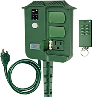 ECOPlugs Outdoor Light Timer Remote Control, Christmas Light Timer Switch Outlet, Automatic Light Switch Timer Outlet (Stake Timer A with Remote)