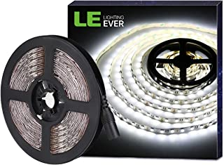 LE 16.4ft LED Strip Light, Super Bright, 300 LEDs SMD 5050, Non-Waterproof LED Tape, Flexible Rope Light for Home, Kitchen, Under Cabinet, Bedroom, 12V Power Supply Not Included, Daylight White