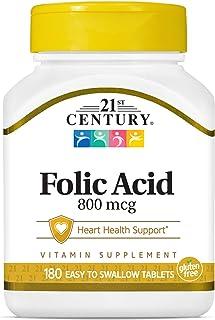 21st Century 800 mcg Folic Acid Tablets, 180 Count