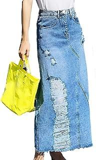 Spijkerrok,Hoge Taille Onregelmatig Lang Gat Mid-Kalf A-Lijn Denim, Vrouwen Lente Zomer Fashion Jeans Rok, Dame Mode Licht...