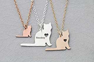 Cat Necklace - Short Haired - IBD - Personalize Name Date - Pendant Size Options - 935 Sterling Silver 14K Rose Gold Filled Charm