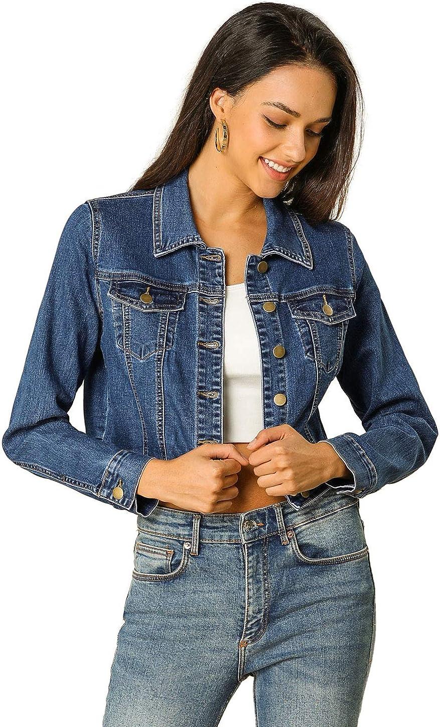 Allegra K Allegra K Women's Casual Crop Button Down Basic Jean Denim Jacket