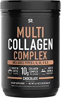 Multi Collagen Protein Powder (Type I, II, III, V, X) with Hyaluronic Acid + Vitamin C | 5 Types of Food Based Collagen, G...