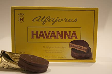 Alfajores Havanna de chocolate rellenos de dulce de leche (12 units)