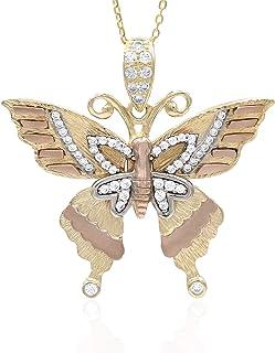 Collana in oro - 14K - Pendente farfalla - in oro bianco, giallo e rosa - ali con zirconi trasparenti - peso gr 6.70 - Gir...
